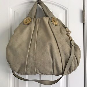 Large Gucci tote, cream with gold hardware
